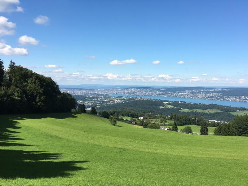 Sicht auf Zürich auf dem Weg vom Albispass zur Hochwacht