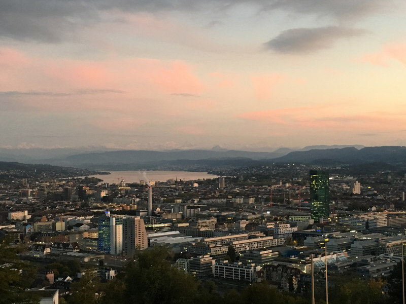 Die Stadt Zürich in Abendstimmung